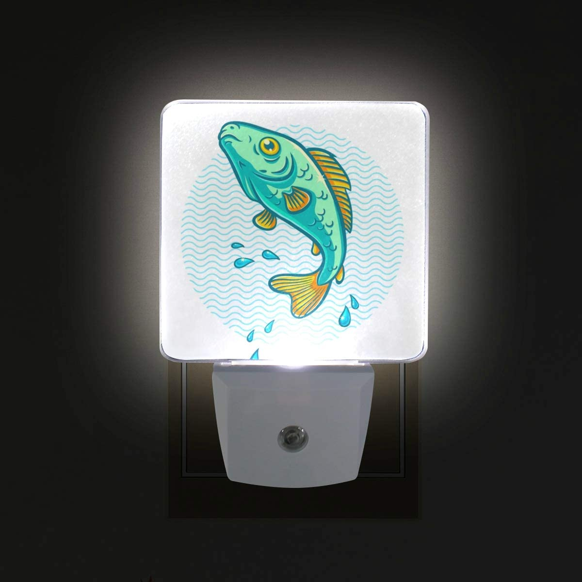 Wave Fish Water LED Night Lights with Auto Dusk to Dawn Sensor, Plug-in Warm White Wall Lights for Kids Room