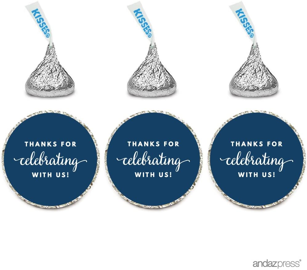 Andaz Press Chocolate Drop Labels Trio, Fits Hershey's Kisses Party Favors, Thanks for Celebrating with Us, Navy Blue, 216-Pack