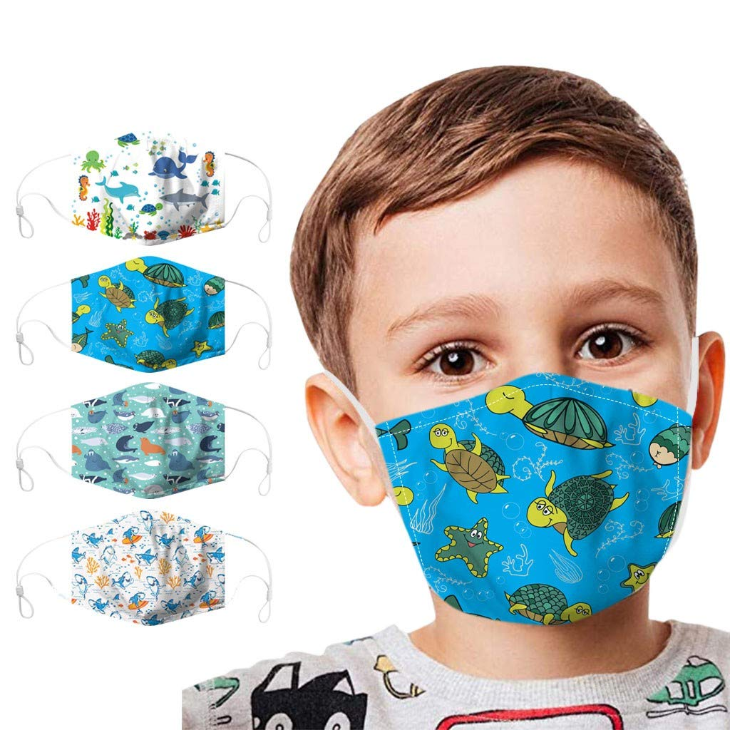 Walsent 4PC Kids 3D Cute Cartoon Cloth Face Covering Washable Reusable Face Bandanas Safe Protective for Children Outdoor Activities