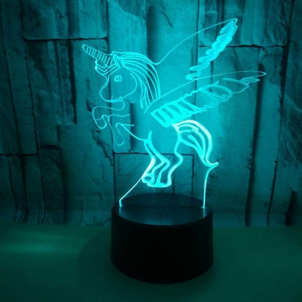 xcdfr 3D Night Light Baby Children Sleep Lamp LED Bedroom 7 Change Color Home Decoration Kid Toy Colorful Unicorn