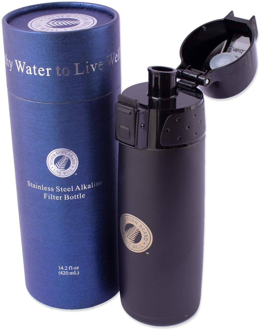 Stainless Steel Alkaline Water Filter Bottle - Black - 14.2 Fl. Oz. Capacity - Makes Up to 200 Gallons of Antioxidant Water with Higher pH - Improves Digestion, Hydration and Minerals