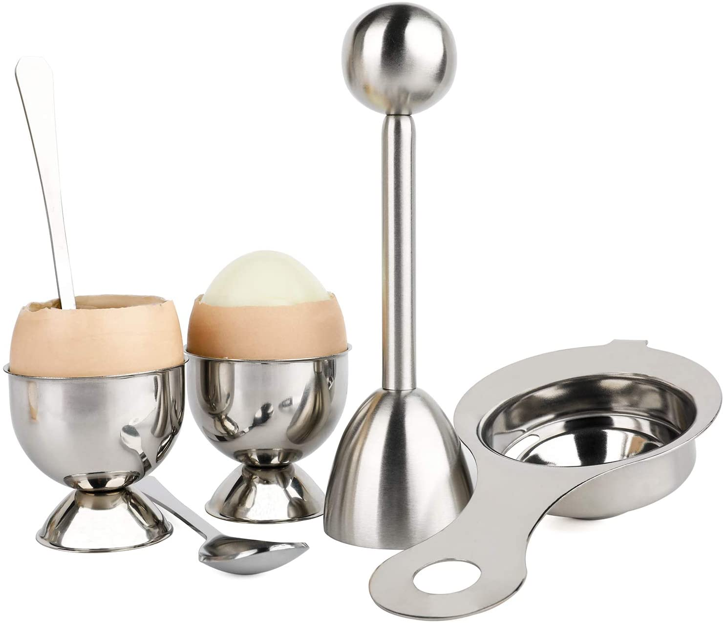 Egg Cracker Topper Set for Soft Hard Boiled Eggs Separator Holder Include 1 Egg Cutter Shell Remover 2 Cups 2 Spoons and 1 Separator