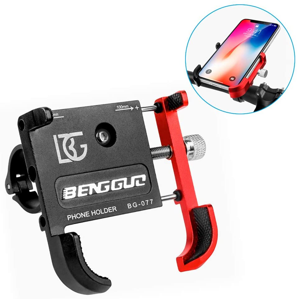 INTSUN Bicycle & Motorcycle Phone Mount, Aluminum Alloy Bike Cell Phone Holder with 360° Rotatable Adjustable, Universal Bike Handlebar Phone Mount for 3.5