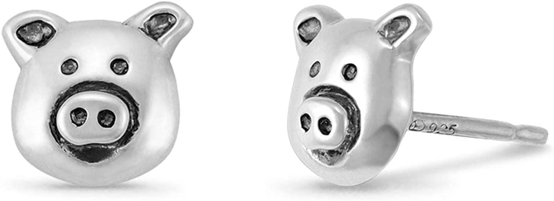 Boma Jewelry Sterling Silver Pig Farm Animal Stud Earrings
