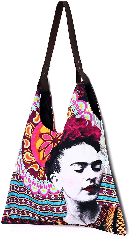 Akitai Frida Kahlo Printed Canvas Women Triangle Tote Shoulder Bag Purse