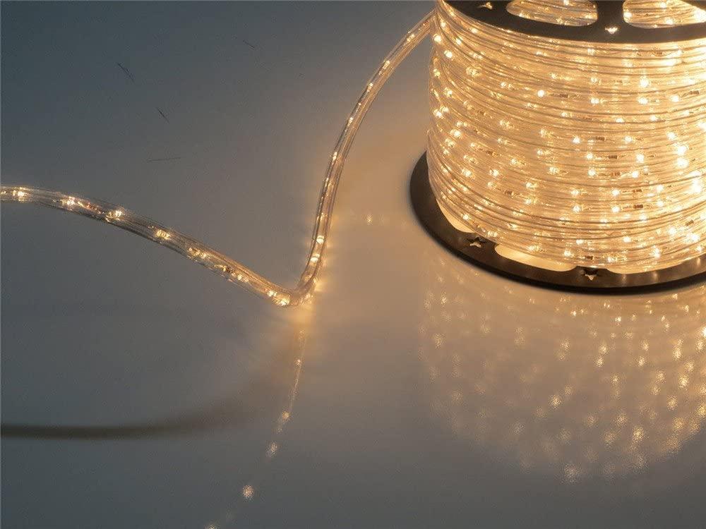 PYSICAL® 110V 2-Wire Waterproof LED Rope Light Kit for Background Lighting,Decorative Lighting,Outdoor Decorative Lighting,Christmas Lighting,Trees,Bridges,Eaves … (150ft, Warm White)