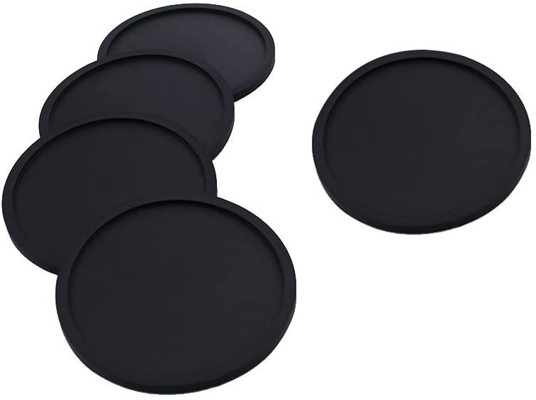 VORCOOL 5pcs Nonslip Silicone Drink Coaster Thick Cup Mug Glass Bottle Mat Pad(Black)