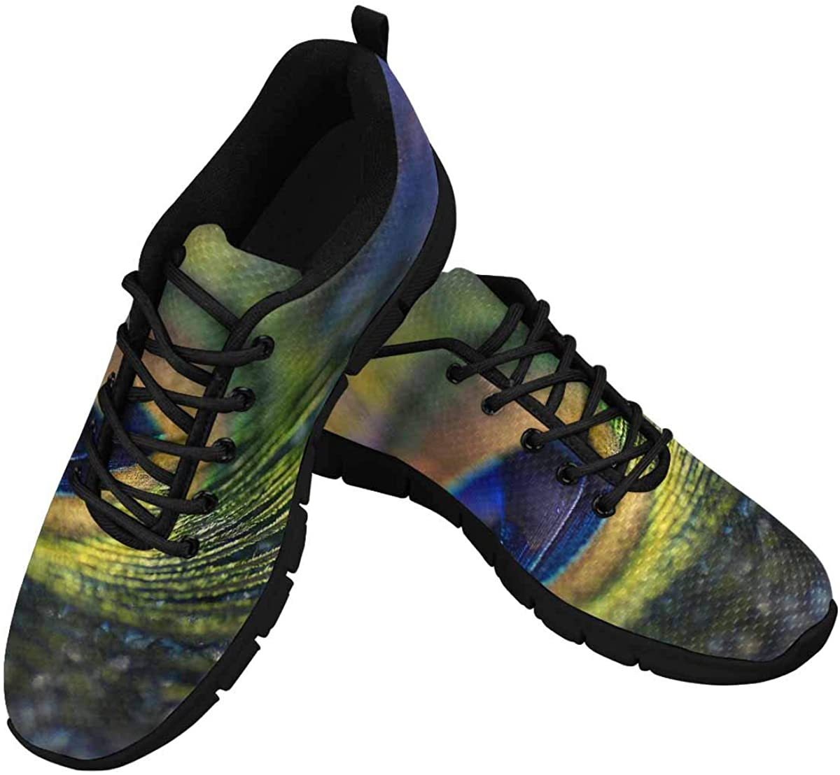 INTERESTPRINT Multicolored Peacock Feather Women's Breathable Sneaker