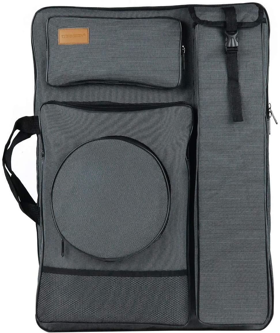 "Transon Waterproof Artist Portfolio Backpack Canvas Bag Large Size 26""x 19.1"" Ash Black"