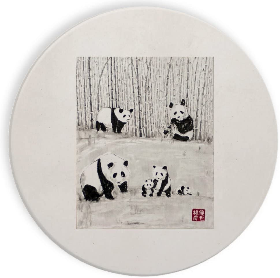 Panda Family in a Bamboo Woods Mural Yuya Negishi YUYART - Ceramic Stone Coaster Coasters Set of Four
