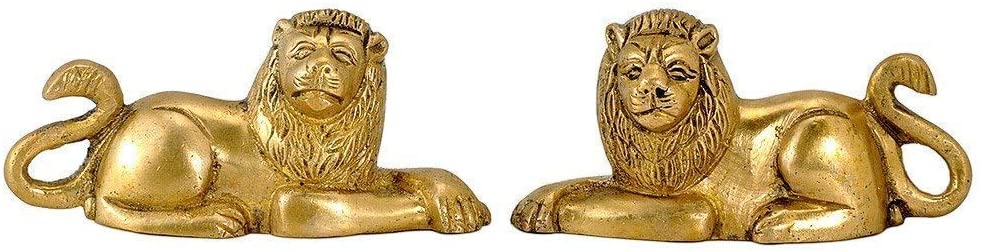 PARIJAT HANDICRAFT Seated Lion Pair Brass Statue, Standard, Golden A Perfect showpiece for Your Home and Office