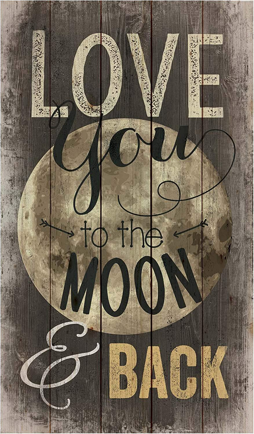 P. Graham Dunn Love You to The Moon and Back Distressed Design 24 x 14 Wood Pallet Wall Art Sign Plaque