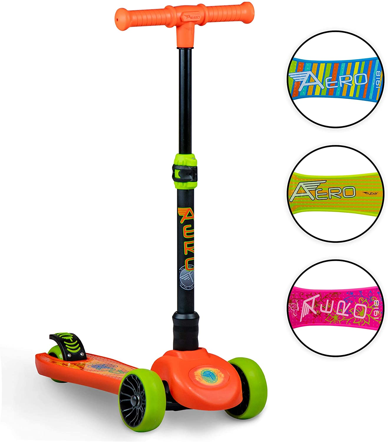 Flybar Aero 3 Wheel Scooter for Kids - Kick Scooter, Step Brake - Ages 3 and Up