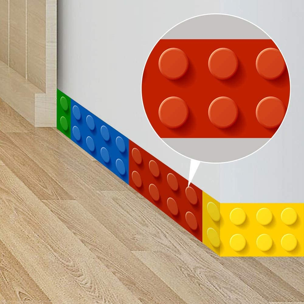 ufengke Building Blocks Wall Stickers Skirting Board Wall Decals Art Decor for Kids Bedroom Living Room Nursery