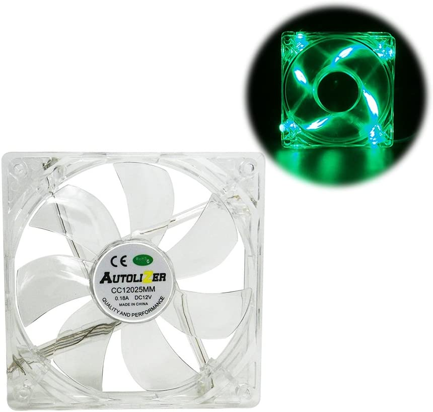 Autolizer Sleeve Bearing 120mm Silent Cooling Fan for Computer PC Cases, CPU Coolers, and Radiators - High Airflow, Quite, and Transparent Clear (Green Quad 4-LEDs) - 2 Years Warranty