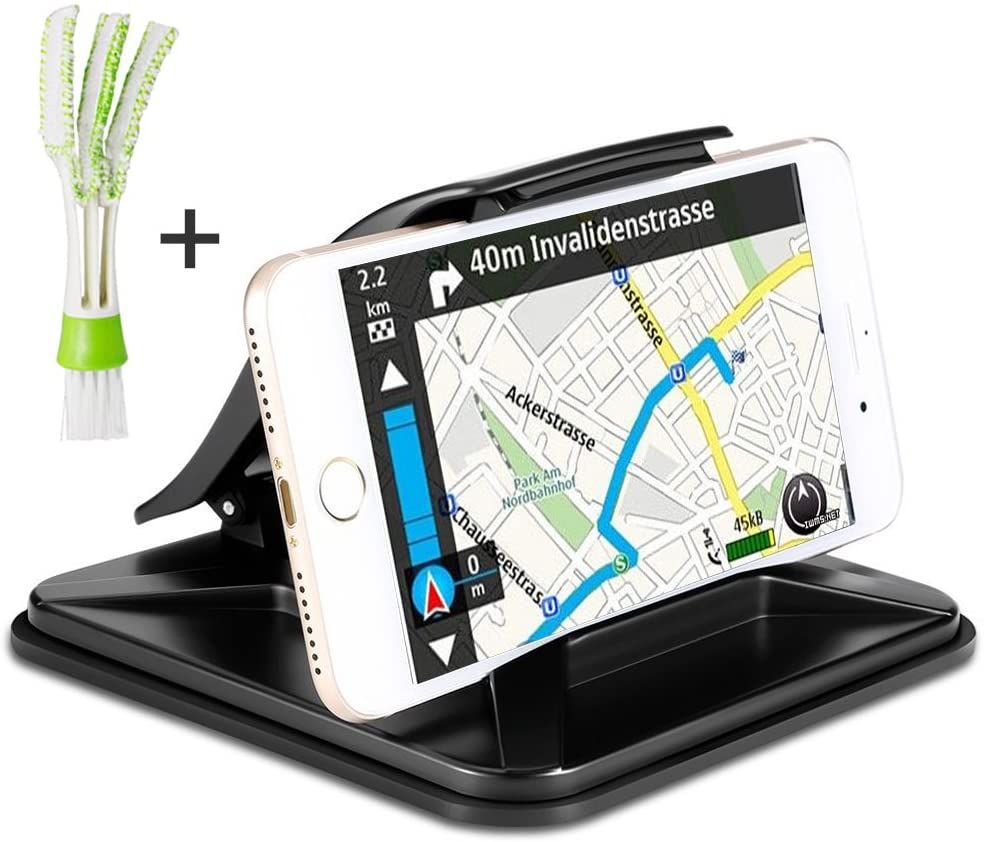 AFUNTA Car Dashboard GPS Holder with Mini Duster, Non-Slip Cell Phone Mount Cradle Compatible iPhone Samsung Galaxy or 3 – 7 inch Smartphone GPS Devices, with Air Vent Cleaner Brush