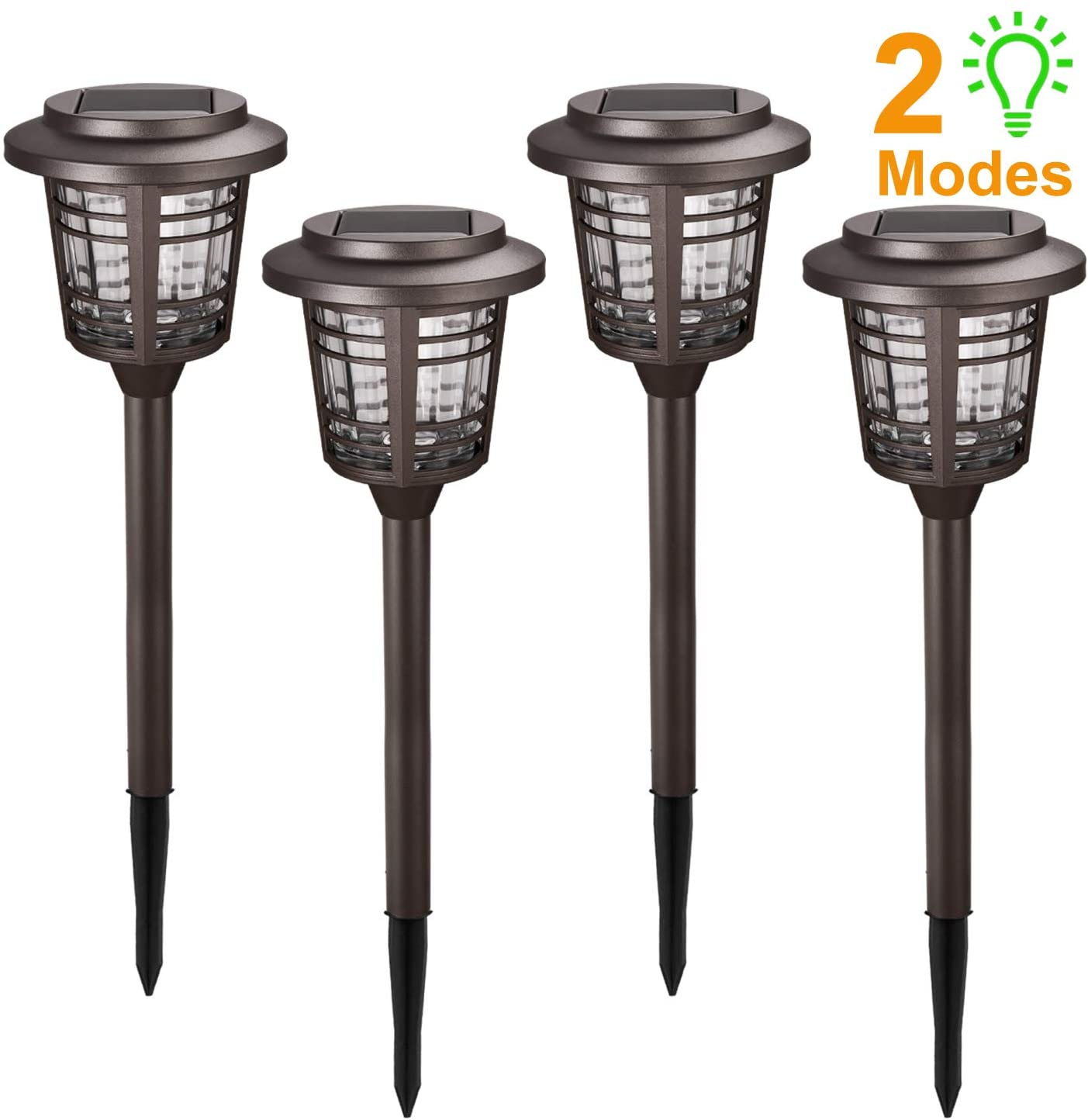 Solar Lights Pathway Outdoor - Solar Path Lights 4 Pack w/Rotate & Always-ON Mode, Long Last, 15-30 Lumens Bright IP65 Waterproof LED Pathway Lights Solar Powered, Auto On/Off, for Patio Lawn Yard