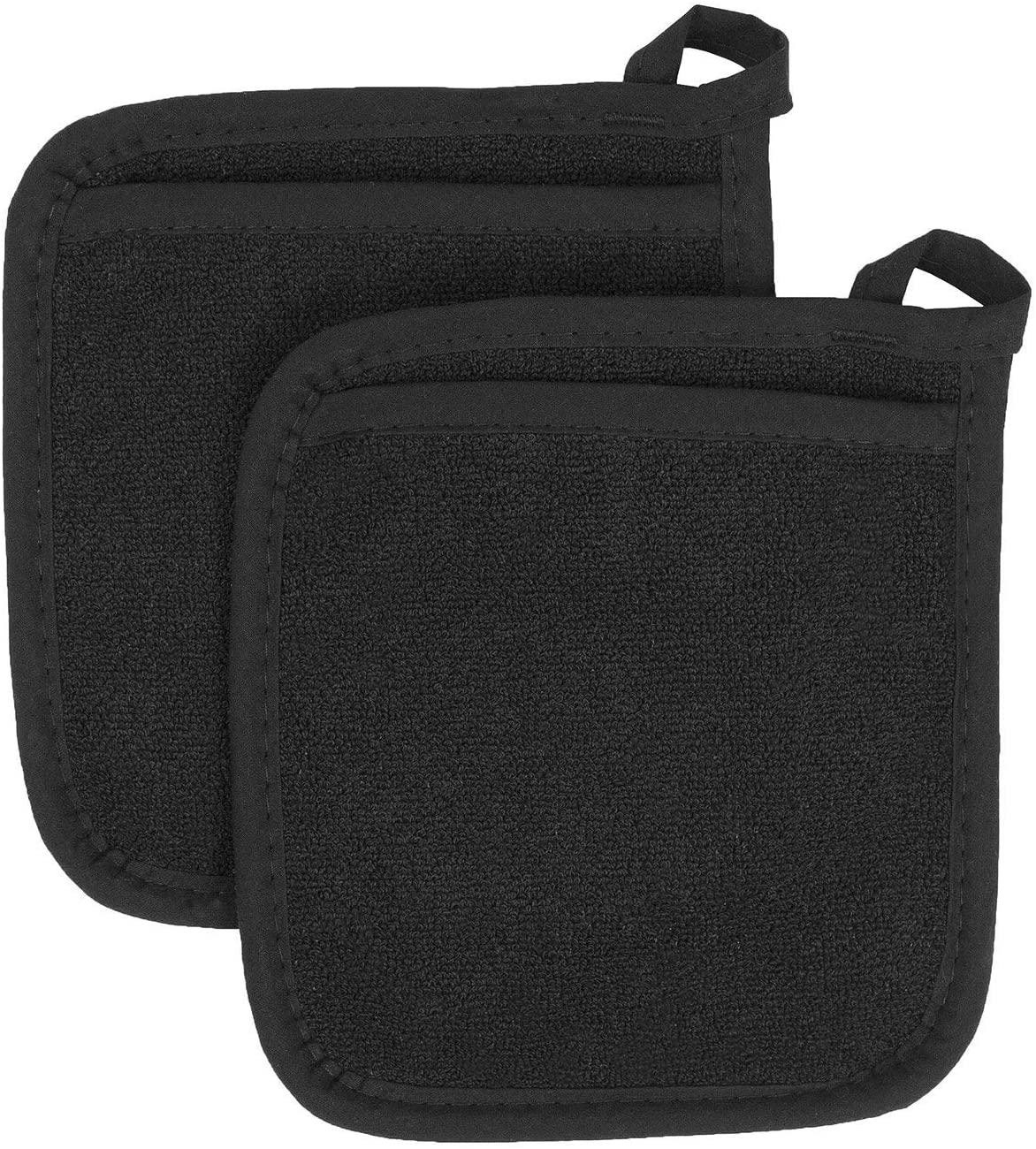 AZ COLLECTION 100% Cotton Terry Cloth Pot Holder Set, Kitchen Hot Pad Heat-Resistant (5, Black)