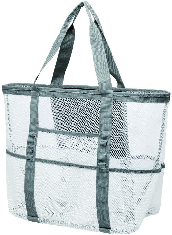 Mesh Beach Bag, Cambond Oversized Beach Tote Bag 9 Pockets Beach Toy Bag, Large (White)