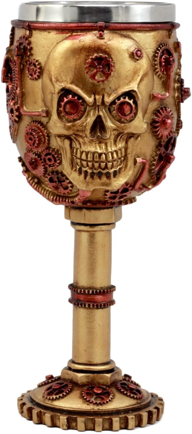 Ebros Gift Golden Age Steampunk Mechanical Gearwork Skull Face Wine Goblet Drink Chalice Cup Figurine 6oz