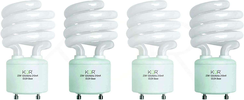 (Pack of 4) 23 Watt Mini Spiral - GU24 Base - (100W Equivalent) - T2 Mini-Twist - CFL Light Bulb - 2700K Warm White