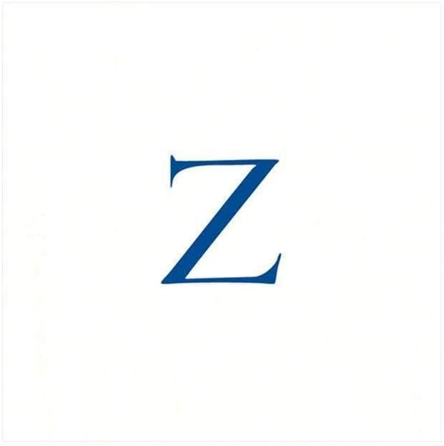 Caspari White Pearl & Blue Paper Linen Boxed Cocktail Napkins in Letter Z - Pack of 30
