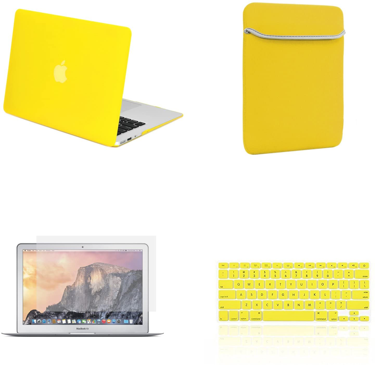 TOP CASE - 4 in 1 Essential Bundle Rubberized Hard Case, Keyboard Cover, Screen Protector, Sleeve Bag Compatible MacBook Air 13