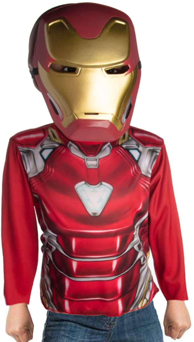Rubie's Iron Man Dress Up Boys Costume Top with Mask Superhero Costumes for Boys Kids Size 4-6 Superhero Accessories