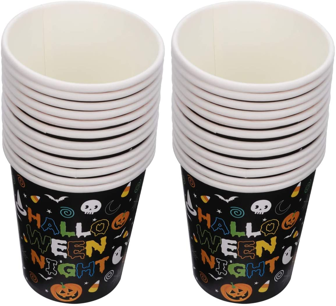 NUOBESTY 2 Set 48 Pcs Pumpkin Witch Pattern Halloween Themed Disposable Party Cups Included 48pcs Disposable Cups for Hallowen Party Supplies