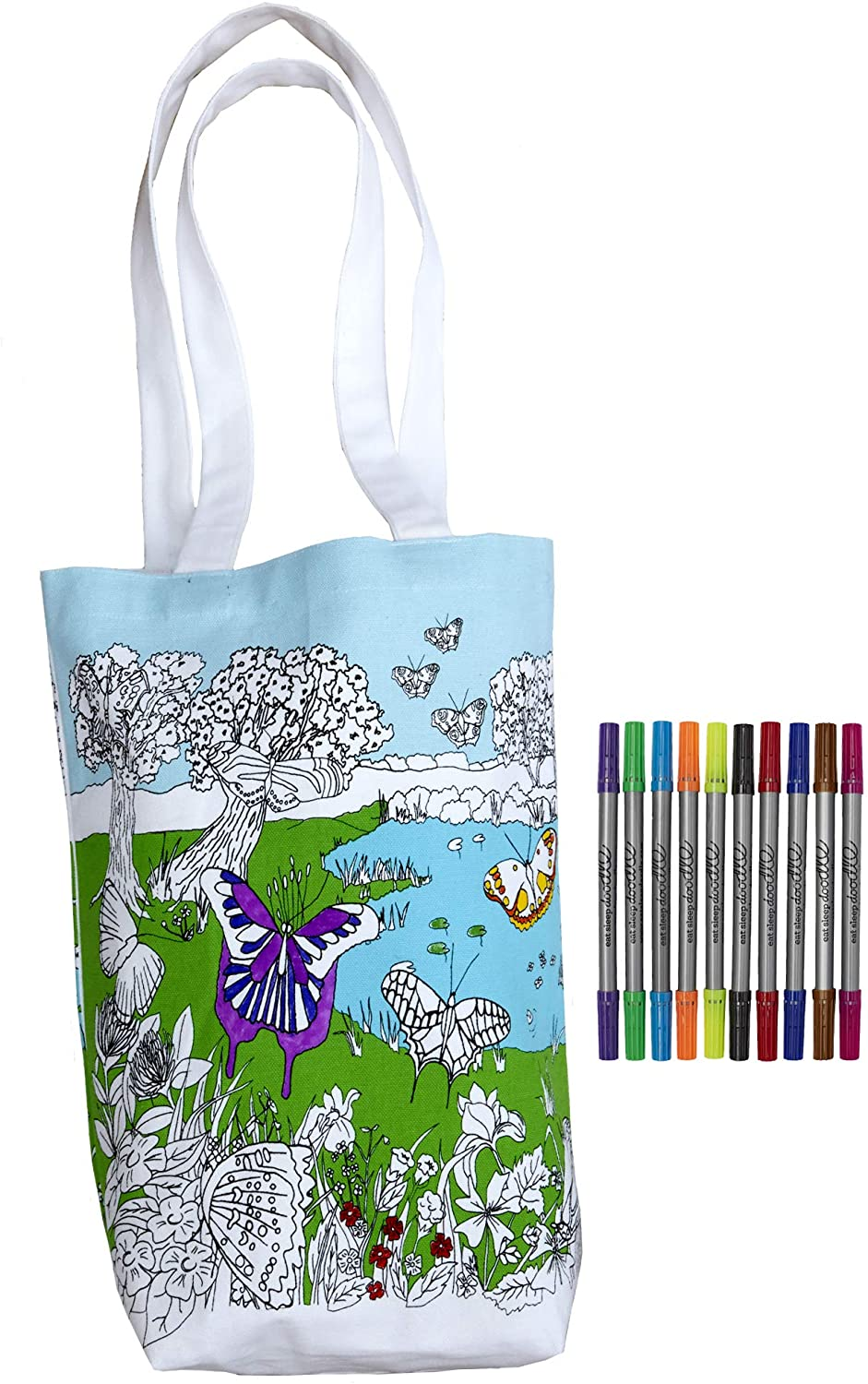 Eatsleepdoodle Tote Bag - Children School Bag with Washable Fabric Markers