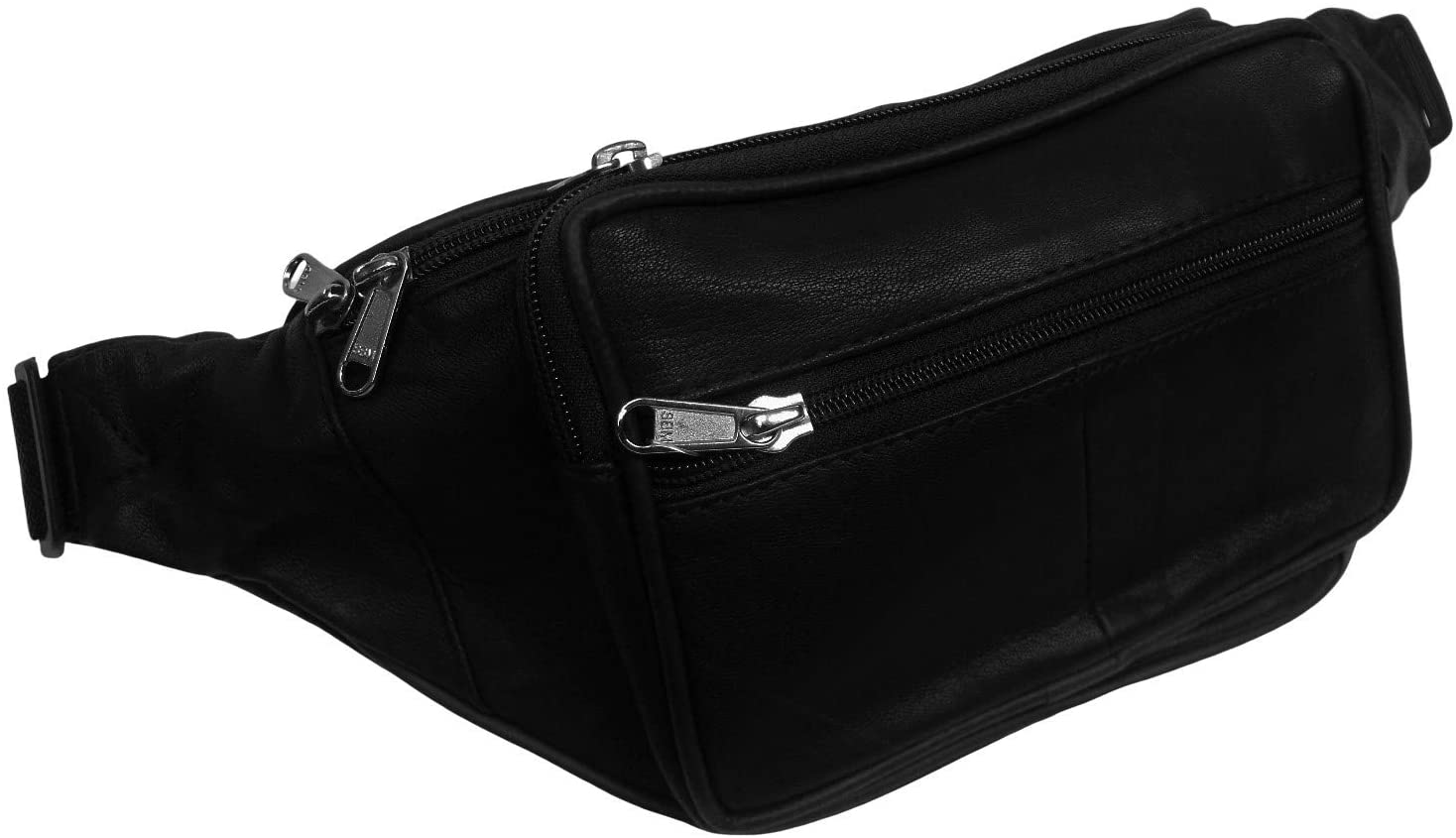 FingerLakes Genuine Leather Lambskin Waist Bag, Fanny Pack - Black (Black)