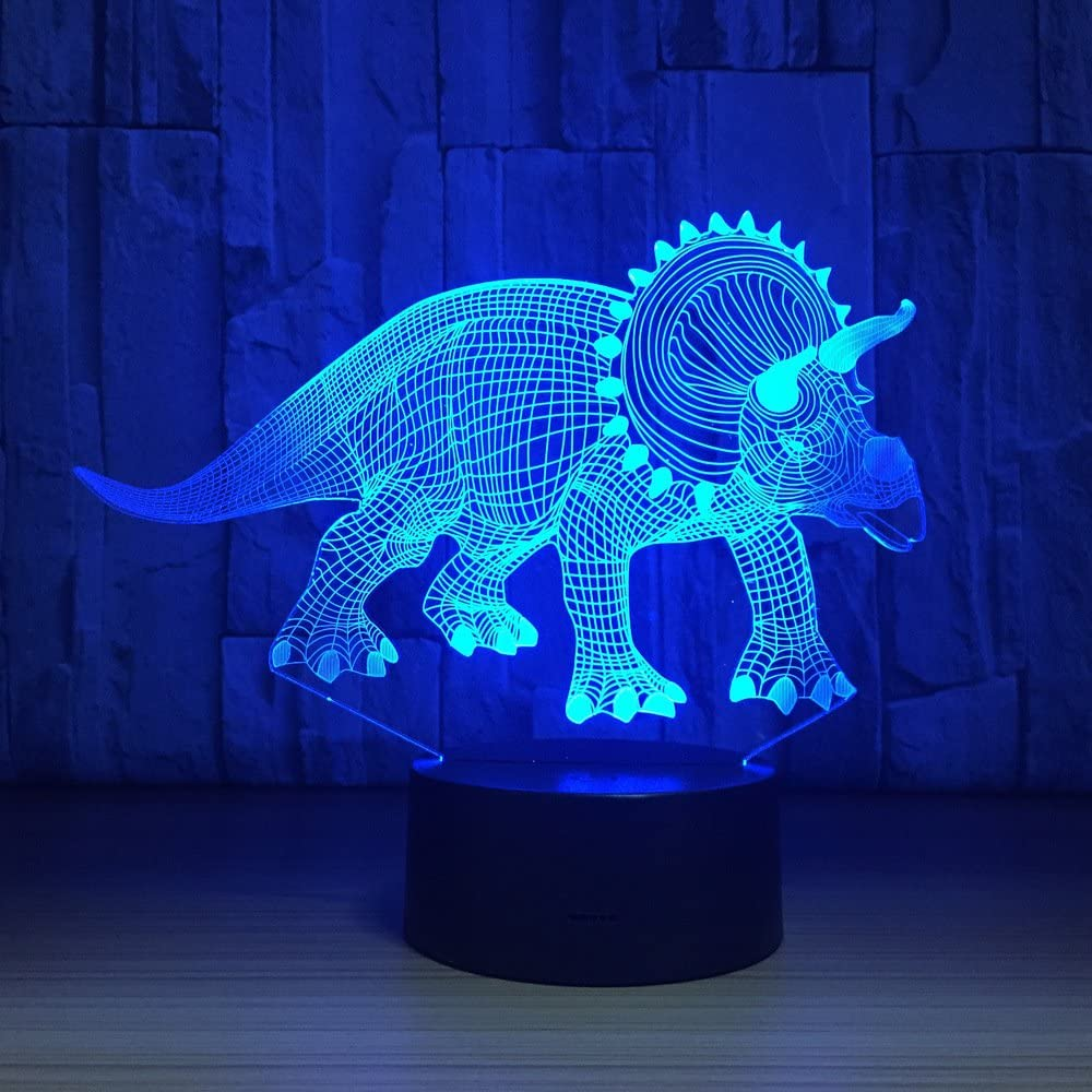 Herbivorous Dinosaurs 3D LED Lamp Night Lights Novelty Illusion Night Lamp LED with USB Cable Birthday Christmas Party Gift