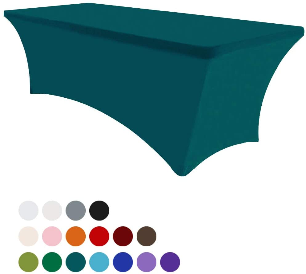 Eurmax 6Ft Rectangular Fitted Spandex Tablecloths Wedding Party Table Covers Event Stretchable Tablecloth (Jade Green)