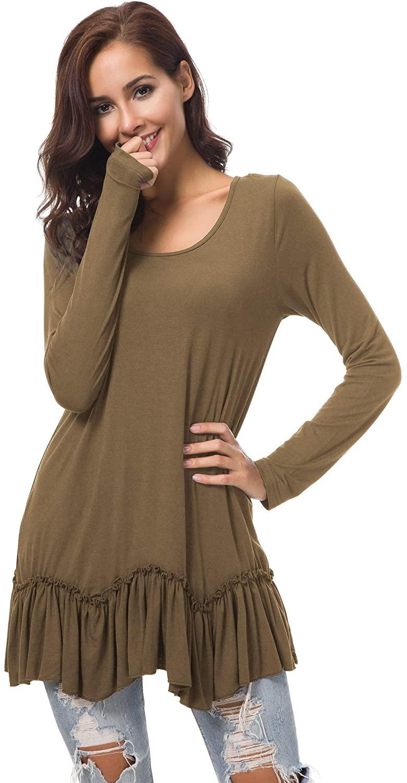 Urban CoCo Women's Casual T-Shirt Solid Long Sleeve Tunic Tops