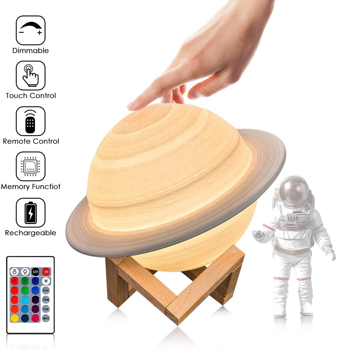 Moon Lamp 3D Print Light Saturn Moon Night Light 16 Colors Remote &Touch Control Bedside Lamp Safe Night Light for Kids Women Girls Family Birthday Gift
