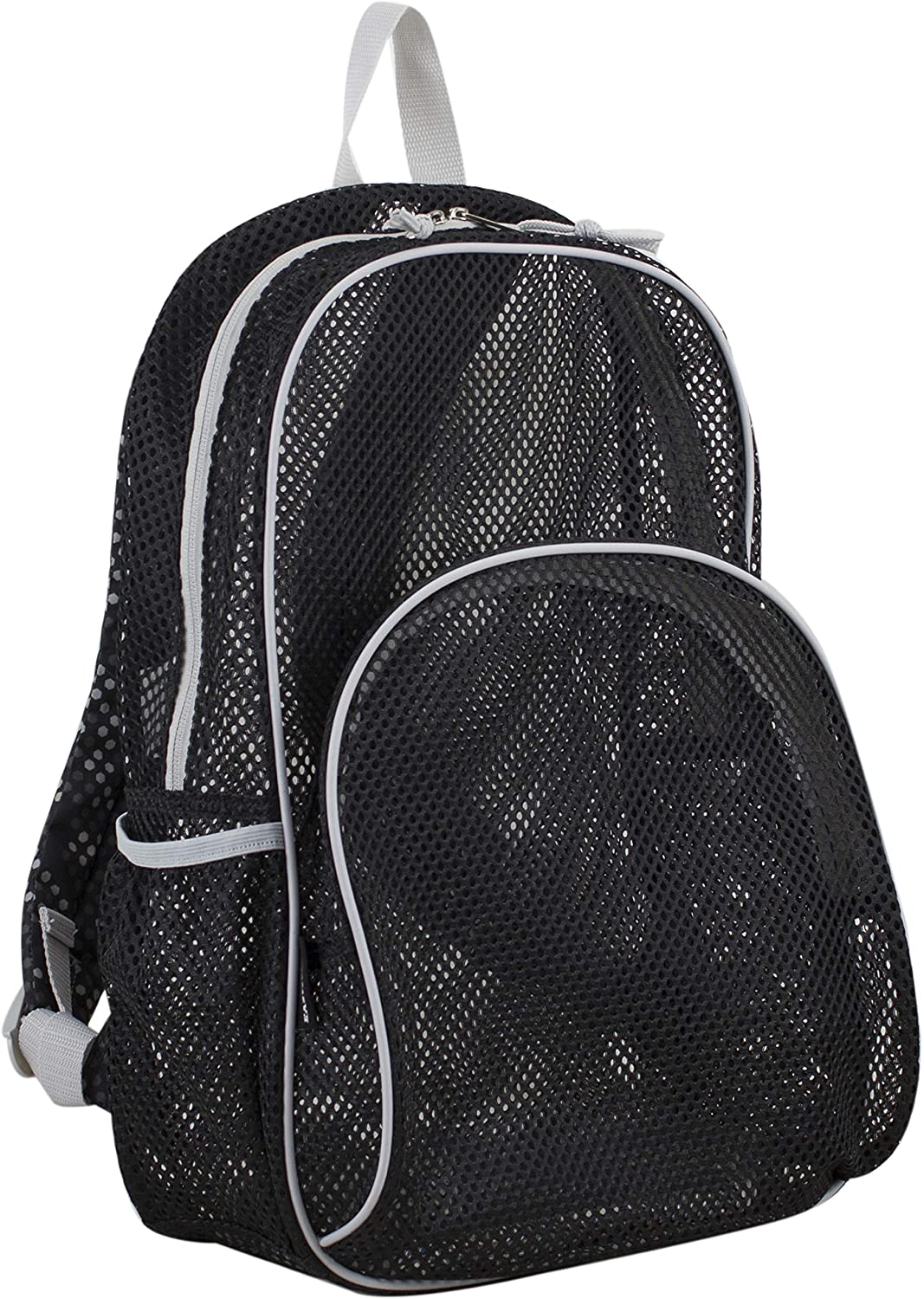 Eastsport Mesh Backpack With Padded Shoulder Straps, Black Mesh/Gray/Hexagon Dotted Print Straps