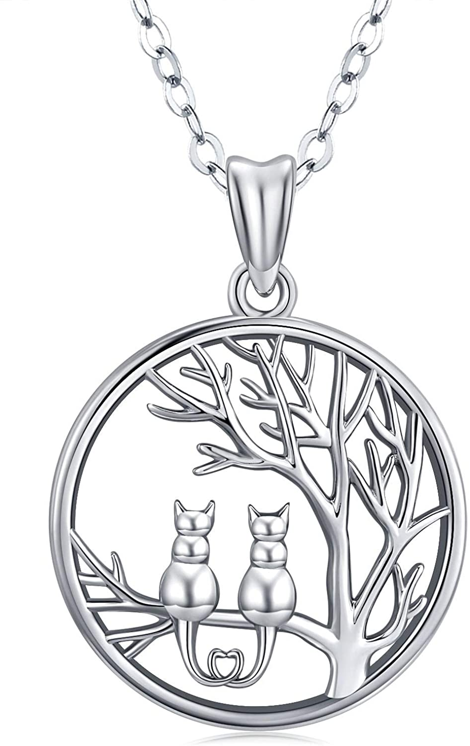 Friggem Cat Necklace,Sterling Silver Double Cats Chain On The Tree Necklace,Round Tree of Life Necklace Cat Pendant 18