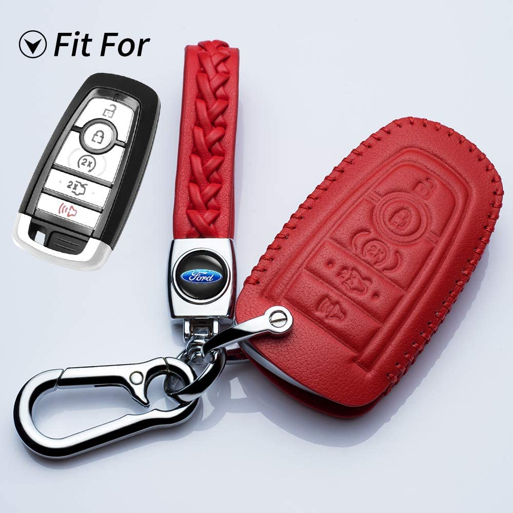 Jazzshion for Leather Cover Key Fob Case Protector Jacket Holder Suit for 2017 Fusion Edge F250 F350 F450 F550 2018 Explorer Expedition 5 Buttons Smart Remote Control