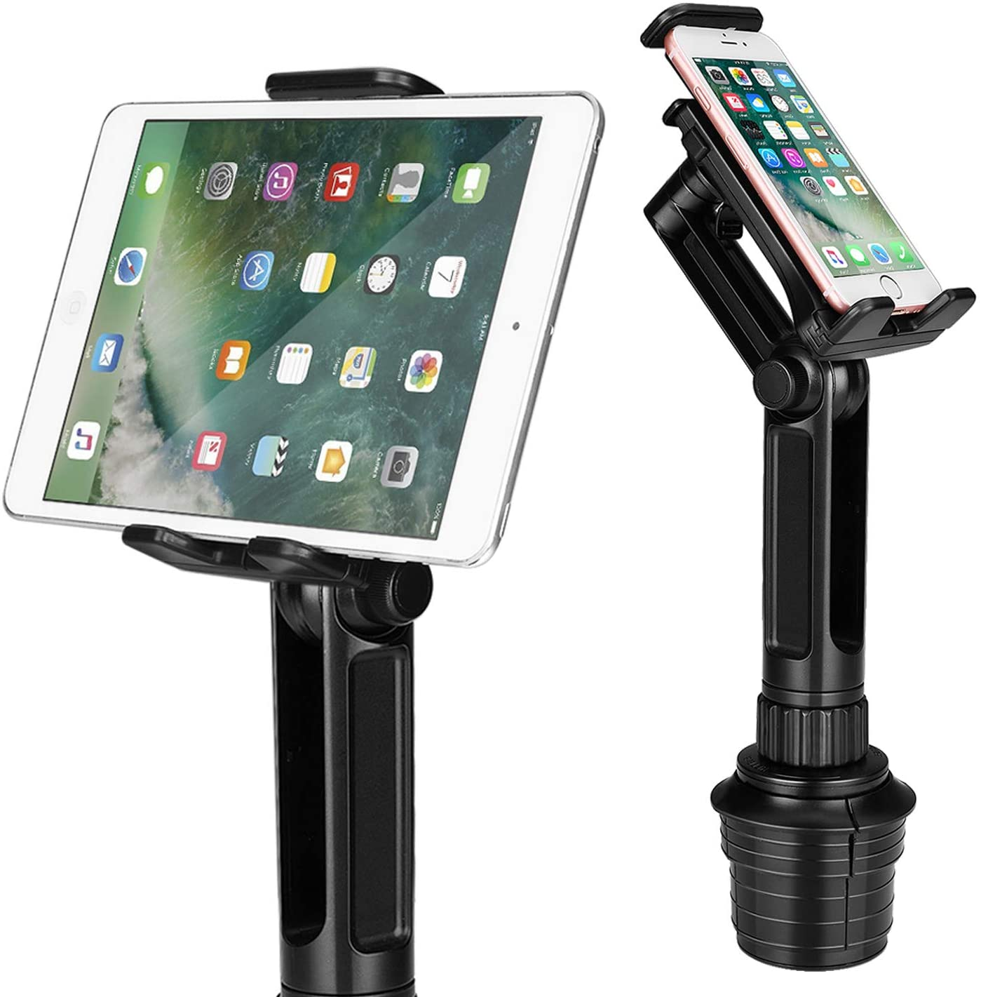 TNP Cup Mount Holder for Tablet and Smartphone, Universal Car Cup iPad Mount w/Swivel Arm Extendable Clamp for Devices with 4-10.5 inch Display, Ideal for Apple iPad iPhone Samsung Uber Lyft Drivers