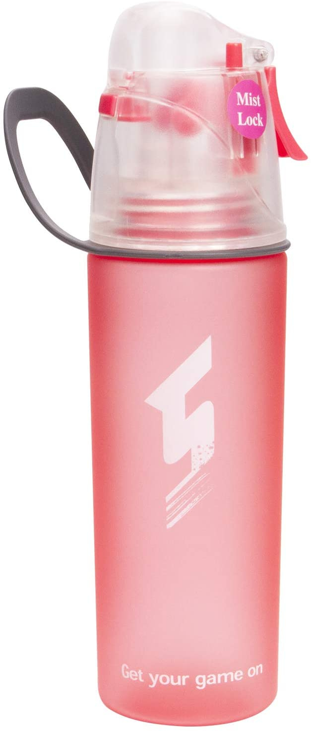 NOVOs Drinking and Misting Sports Water Bottle, Non-Toxic BPA Free, Fast Water Flow Opens with 1-Click, Portable Leak-Proof Spray Cup for Cycling Fitness Camping Hiking Outdoor