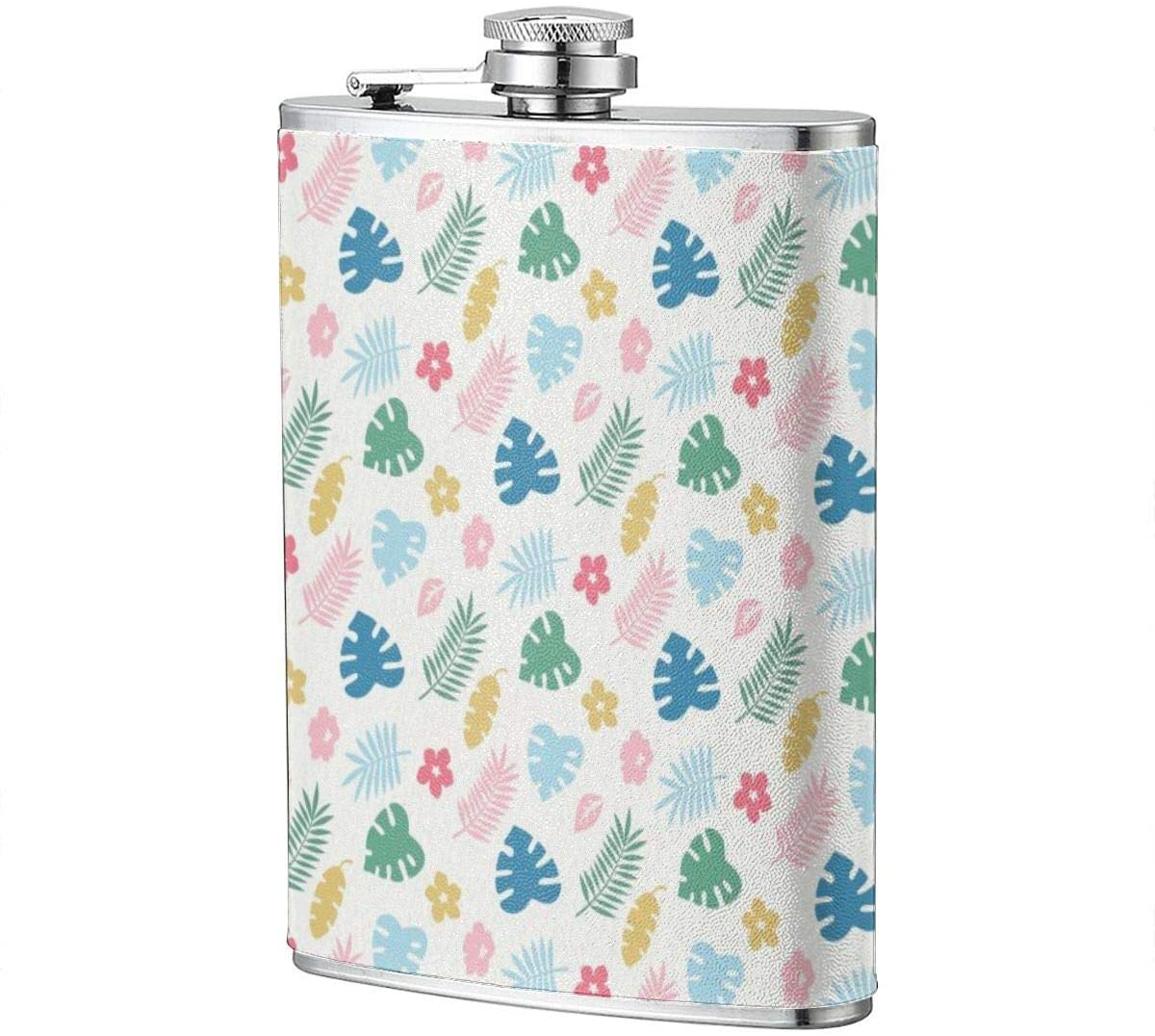 Colored Turtle Leaf Floral Portable 8 Oz Stainless Steel Leak-Proof Hip Flask For Whiskey With Leather Wrap Travel Camping Wine Pot Flagon For Men Women