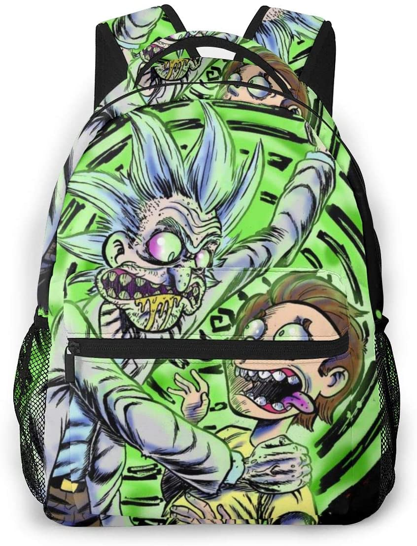 NiYoung Casual Daypack Big Capacity Multipurpose Anti-Theft Shoulder Bag Backpack for Trekking Outdoors Bicycle - Cartoon Crazy Rick-and-Morty Art, Travel Hiking Backpack