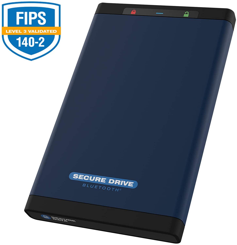 SecureData SecureDrive BT FIPS 140-2 Level 3 Validated 256-Bit Hardware Encrypted External Portable Hard Drive USB 3.0 - Secure Wireless Unlock via Mobile App (1 TB)