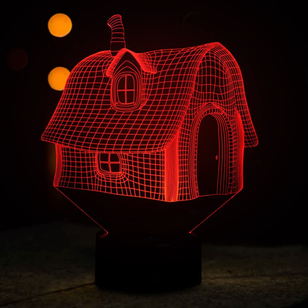 Tons 3D Night Light Colorful Touch Control Light 7 Colors Change USB LED for Desk Table with Multicolored USB Powered Home Decoration Best Gift for Kids (House)