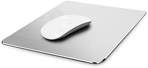 Yicaihong Metal Aluminum Mouse Pad Hard Silver Clear Modern Ultra Thin Double Side Design Mouse Mat Waterproof Fast and Accurate Control for Gaming and Office Magic, Medium 9.45X7.87 Inch