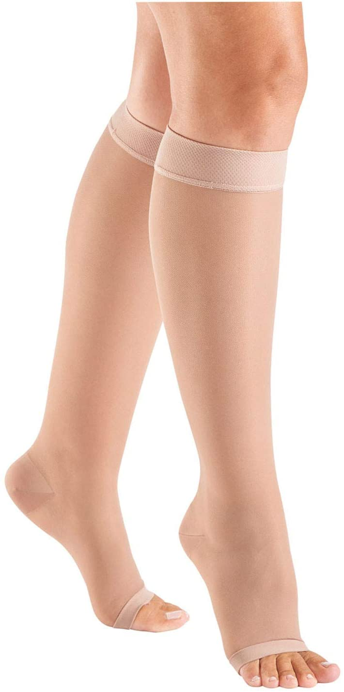Women's Support Plus Open Toe Stockings - 15-20 mmHg Moderate Compression - Beige - Small