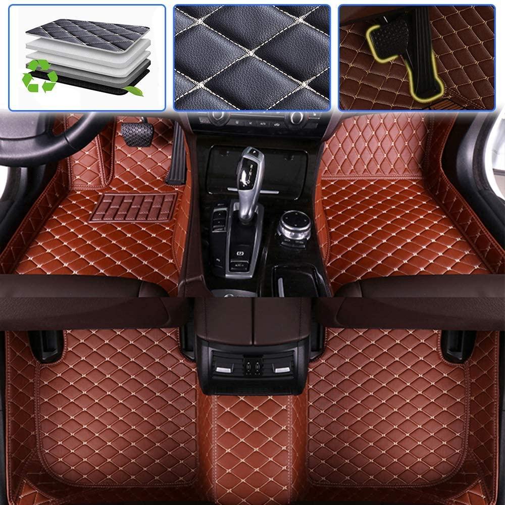 SureKit Custom Car Floor Mats for Chevy Chevrolet Traverse 2009-2015, 2018-2019 Luxury Leather Waterproof Anti-Skid Full Coverage Liner Front & Rear Mat/Set (Brown)