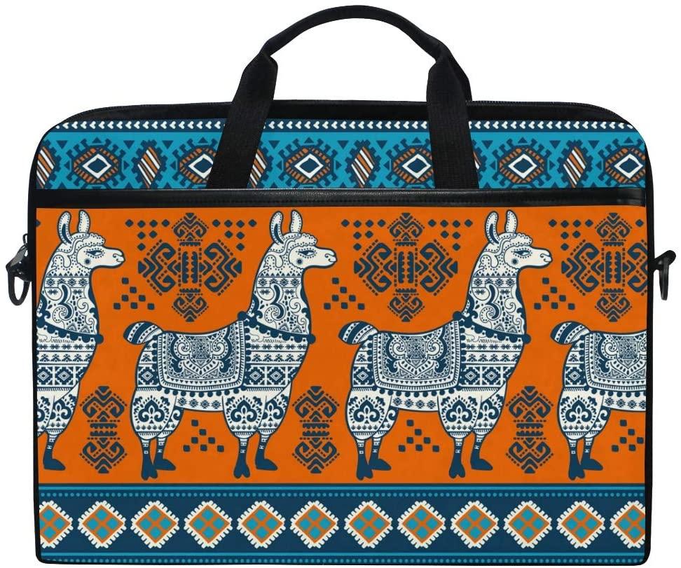 ALAZA Indian Aztec Tribal Alpaca Llama Laptop Case Bag Sleeve Portable Crossbody Messenger Briefcase Convertible w/Strap Pocket for MacBook Air Pro Surface Dell ASUS hp Lenovo 14-15.4 inch