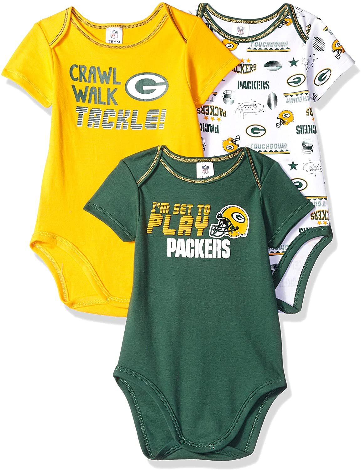 NFL Green Bay Packers Baby-Boy 3 Pack Short Sleeve Variety Bodysuit, Team Color, 6-12 Months