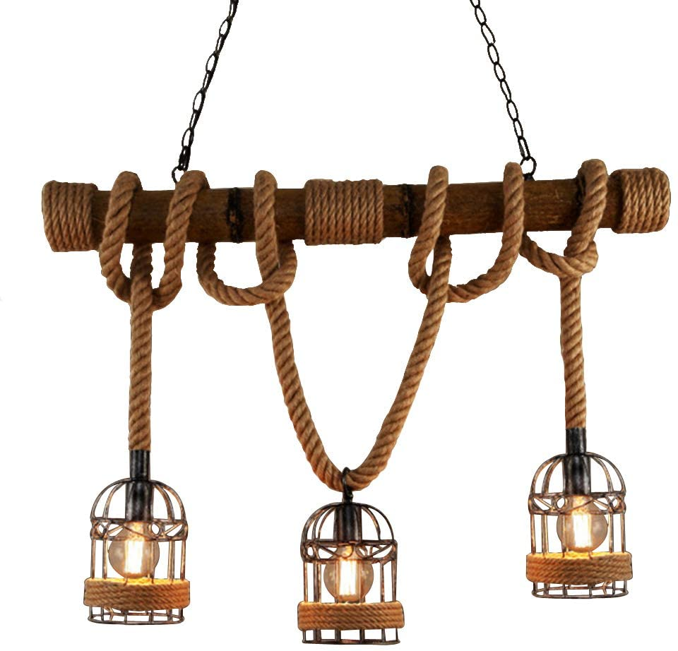 BAYCHEER Industrial 3 Lights Pendant Light Ceiling Lighting Hanging Lamp Chandelier Lantern Style with Rope Cage Frame & Wood Decoration for Indoor Bar Warehouse Hallway Use E26 Bulbs